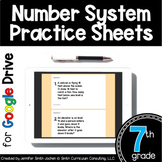 7th Grade Digital Practice Sheets- Number Systems for Dist