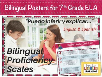 7th Grade ELA Bilingual Posters with Learning Goals and Scales