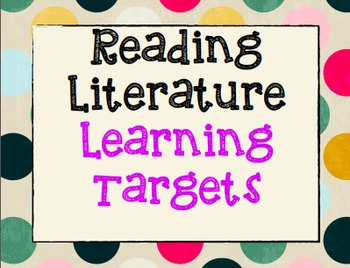 7th Grade ELA Common Core Learning Targets Poster Set Reading Literature
