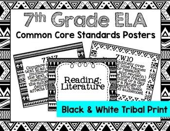 7th Grade ELA Common Core Posters- Black & White Tribal Print