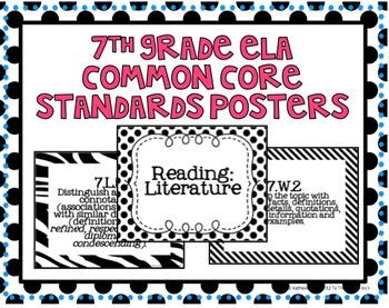7th Grade ELA Common Core Posters- Black and White Print!