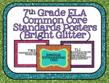 7th Grade ELA Common Core Posters- Bright Glitter Print!