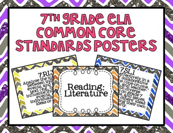 7th Grade ELA Common Core Posters- Glitter Chevron Print!