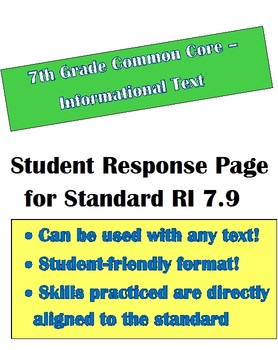 Common Core Informational Text: Student Response Page for RI 7.9 - 7th Grade