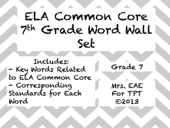 7th Grade ELA Common Core Word Wall Words