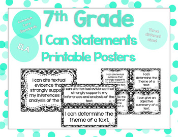 7th Grade ELA I Can Statements for CCSS Standards (Damask)