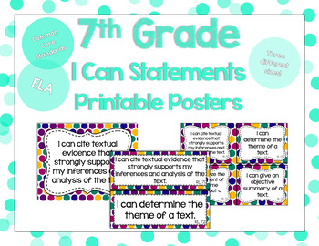 7th Grade ELA I Can Statements for CCSS Standards (Jewel Tone Dots)