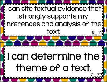 7th Grade ELA I Can Statements for CCSS Standards (Jewel Tone Stripes)