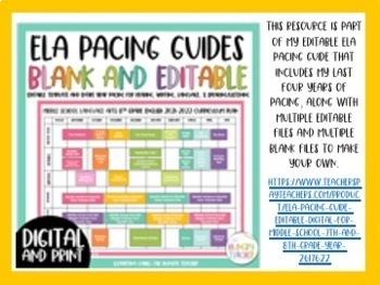 7th Grade ELA Pacing Guide Full Pacing Guide and Examples