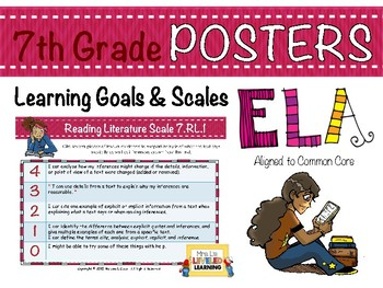 7th Grade ELA Posters (7RL1-3) with Marzano Scales - FREE!