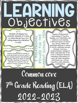 7th Grade ELA Reading Writing COMMON CORE Learning Objective Cards
