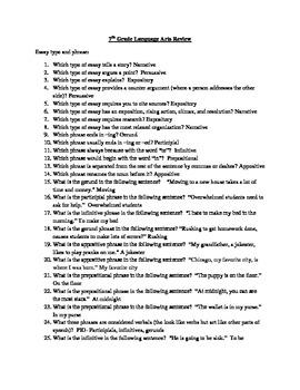7th Grade ELA Review Questions