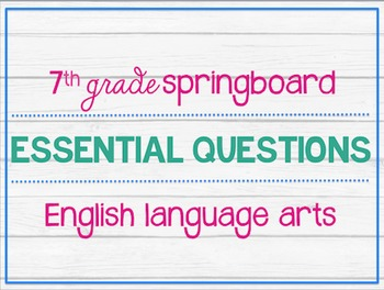 Springboard teaching resources teachers pay teachers 7th grade ela springboard essential questions posters 7th grade ela springboard essential questions posters fandeluxe