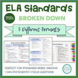 """7th Grade ELA Standards Breakdown with """"I Can"""" Statements and Focus Questions"""