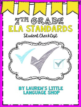 7th Grade ELA Standards Checklist