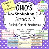 7th Grade ELA Standards (OHIO) Pocket Chart Printables