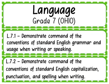 7th Grade ELA Standards (OHIO) Pocket Chart Printables