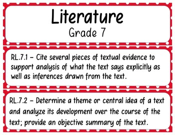 7th Grade ELA Standards Pocket Chart Printables (Common Core)