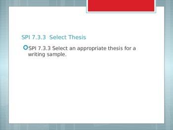 7th Grade ELA TCAP SPI 7.2.3 & 7.3.3 Thesis Statements