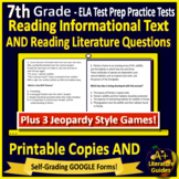 7th Grade ELA Test Prep SELF-GRADING GOOGLE FORMS and Games Google Classroom