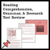 7th Grade ELA Test Review for Reading, Grammar, & Research