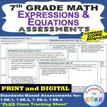 7th Grade EXPRESSIONS AND EQUATIONS Assessments (7.EE) Common Core