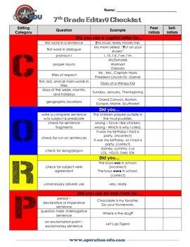 7th Grade Editing Checklist