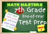 7th Grade End of Year Common Core Test Prep, 5 Days of Prep (Packet 1)