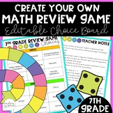 7th Grade End of Year Game Choice Board