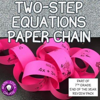 7th Grade End of Year Review-Two Step Equations Paper Chain