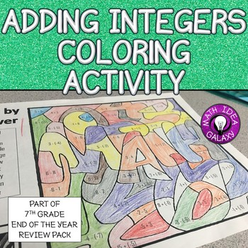 7th Grade End of the Year Review-Adding Integers Coloring Activity