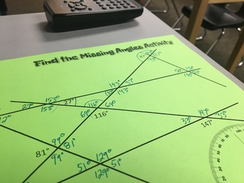 7th Grade End of the Year Review-Angle Relationships Activity
