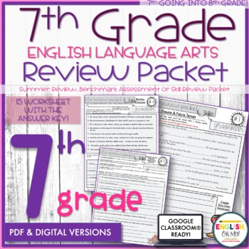 7th Grade English Review Packet, Summer Packet | Distance Learning