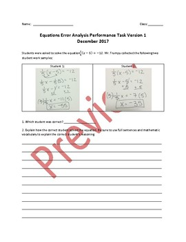 7th Grade Equations Error Analysis Performance Task (Differentiated)