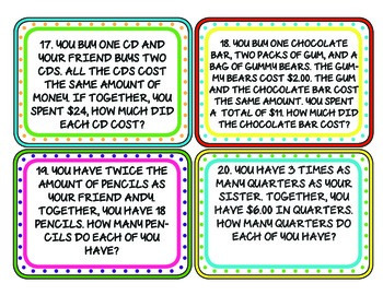 7th Grade Equations Task Cards: Aligned to Common Core!