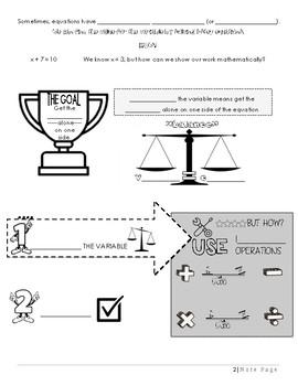 7th Grade Equations Unit Packet