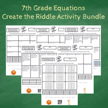 7th Grade Equations with Word Problems Create the Riddle Activity Bundle