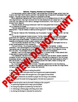 7th Grade Evaluating Arguments CCSS Assessment