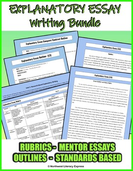 7th Grade Expository Essay Rubric, Outline and Mentor Text Bundle!
