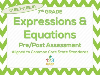 7th Grade Expressions & Equations (7.EE.1 - 7.EE.4) Common Core Test Assessment