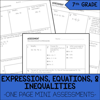 7th Grade Expressions, Equations, & Inequalities Mini Assessments