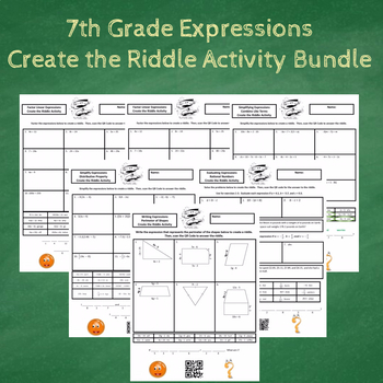 7th Grade Expressions with Word Problems Create the Riddle Activity Bundle
