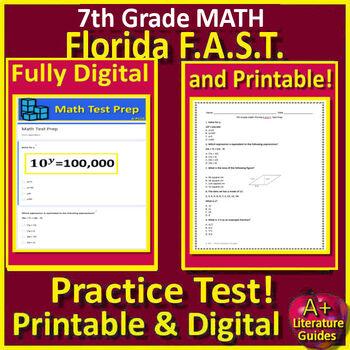 7th Grade FSA Math Test Prep Practice Tests - Print or Paperless using Google