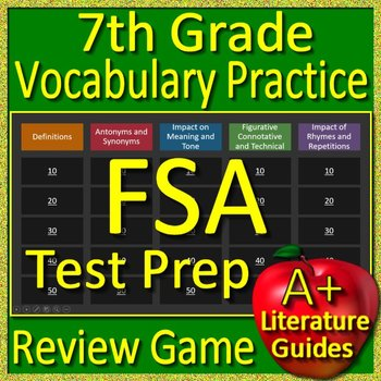 7th Grade FSA Test Prep Reading Vocabulary Practice Review Game