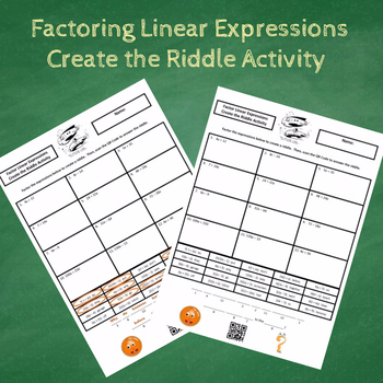 7th Grade Factor Linear Expressions Create the Riddle Activity