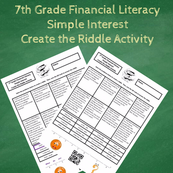 7th Grade Financial Literacy Simple Interest Create the Riddle Activity