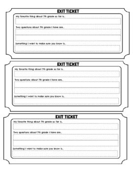 7th Grade First Week of School Exit Slip