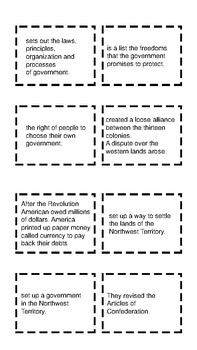 7th Grade Flashcards/Matching Game Constitution and Beyond