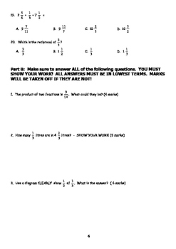 7th Grade Fraction Test