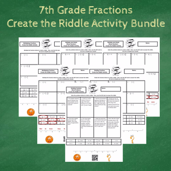 7th Grade Fractions with Word Problems Create the Riddle Activity Bundle